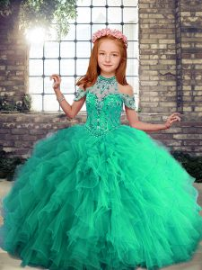 Halter Top Sleeveless Tulle Winning Pageant Gowns Beading and Ruffles Lace Up