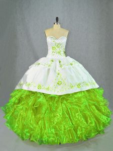 Green Sleeveless Satin and Organza Brush Train Lace Up Sweet 16 Dress for Sweet 16 and Quinceanera