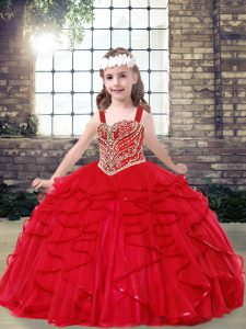 Red Sleeveless Tulle Lace Up Child Pageant Dress for Party and Wedding Party