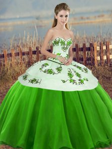 Edgy Embroidery and Bowknot Quinceanera Dresses Green Lace Up Sleeveless Floor Length
