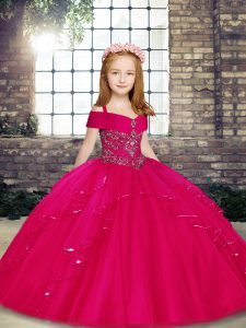 Unique Fuchsia Lace Up Little Girl Pageant Dress Beading Sleeveless Floor Length