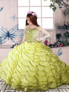 Yellow Green Little Girls Pageant Gowns Organza Sleeveless Beading and Ruffled Layers