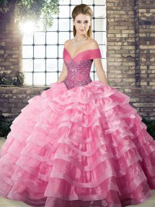 Enchanting Ball Gowns Sleeveless Rose Pink Ball Gown Prom Dress Brush Train Lace Up