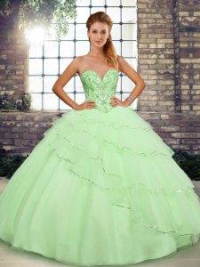 Latest Brush Train Ball Gowns Quinceanera Gowns Yellow Green Sweetheart Tulle Sleeveless Lace Up