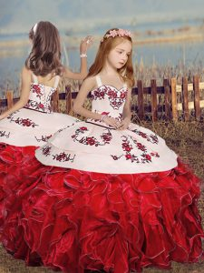 Red Lace Up Little Girls Pageant Dress Embroidery and Ruffles Sleeveless Floor Length