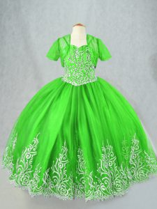 Custom Made Tulle Lace Up Little Girls Pageant Dress Wholesale Sleeveless Floor Length Beading and Embroidery