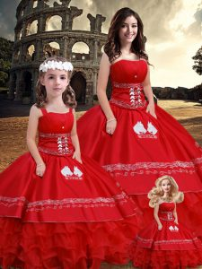 Floor Length Lace Up Quinceanera Dresses Red for Sweet 16 and Quinceanera with Embroidery and Ruffles