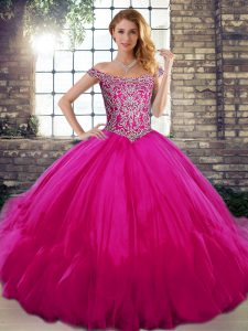 Beauteous Off The Shoulder Sleeveless Tulle Quinceanera Gowns Beading and Ruffles Lace Up