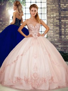 Classical Sweetheart Sleeveless Tulle 15 Quinceanera Dress Beading and Embroidery Lace Up