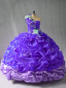 Shining One Shoulder Sleeveless Lace Up Quinceanera Dress Purple Organza