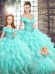 Customized Beading and Ruffles 15 Quinceanera Dress Aqua Blue Lace Up Sleeveless Brush Train