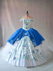 Floor Length Ball Gowns Sleeveless Blue And White Quinceanera Dress Lace Up