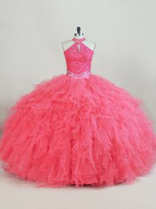 Pink Tulle Lace Up Quinceanera Gowns Sleeveless Beading and Ruffles