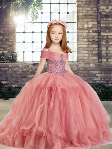 Latest Watermelon Red Kids Pageant Dress Party and Wedding Party with Beading Straps Sleeveless Lace Up