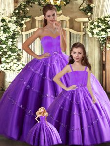 Modest Eggplant Purple Sleeveless Floor Length Beading Lace Up Quinceanera Dress