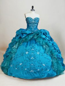 Ball Gowns Quinceanera Dress Teal Sweetheart Taffeta Sleeveless Floor Length Lace Up