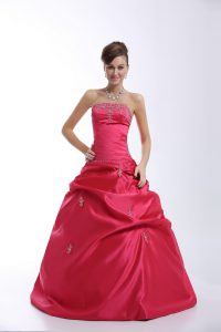 Top Selling Floor Length Hot Pink Sweet 16 Dresses Sweetheart Sleeveless Lace Up