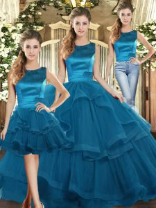 Sleeveless Tulle Floor Length Lace Up Sweet 16 Dress in Teal with Ruffles