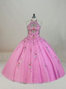 Charming Halter Top Sleeveless Tulle Sweet 16 Quinceanera Dress Appliques and Embroidery Brush Train Lace Up