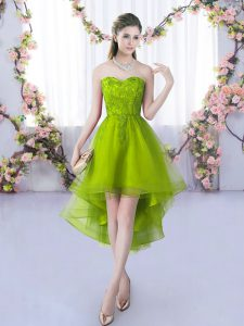 Eye-catching Olive Green Sleeveless Tulle Lace Up Quinceanera Court of Honor Dress for Wedding Party
