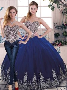 Classical Sleeveless Floor Length Beading and Embroidery Lace Up Quince Ball Gowns with Royal Blue
