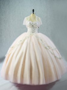 Pink Tulle Lace Up Sweetheart Sleeveless Floor Length Quinceanera Dresses Beading