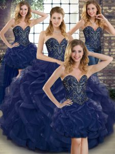 Enchanting Navy Blue Sweetheart Neckline Beading and Ruffles Sweet 16 Quinceanera Dress Sleeveless Lace Up