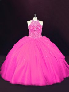 Excellent Floor Length Lace Up Vestidos de Quinceanera Hot Pink for Sweet 16 and Quinceanera with Beading