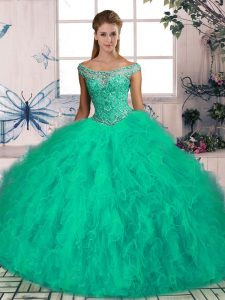 Glamorous Turquoise Sleeveless Beading and Ruffles Lace Up 15 Quinceanera Dress