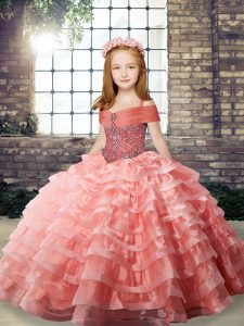 Sweet Straps Sleeveless Organza Little Girl Pageant Gowns Beading and Ruffled Layers Brush Train Lace Up