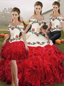 Off The Shoulder Sleeveless Organza Vestidos de Quinceanera Embroidery and Ruffles Lace Up