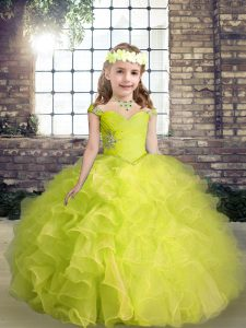 Modern Yellow Green Ball Gowns Organza Straps Sleeveless Beading and Ruffles Floor Length Lace Up Kids Formal Wear