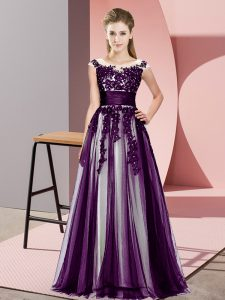 Fantastic Sleeveless Floor Length Beading and Lace Zipper Quinceanera Dama Dress with Dark Purple