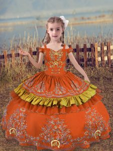 Rust Red Lace Up Kids Formal Wear Beading and Embroidery Sleeveless Floor Length