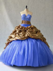 Dynamic V-neck Sleeveless 15th Birthday Dress Brush Train Beading and Pick Ups Blue Organza and Printed