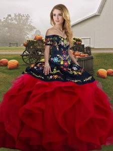Red And Black Ball Gowns Tulle Off The Shoulder Sleeveless Embroidery and Ruffles Floor Length Lace Up Vestidos de Quinceanera