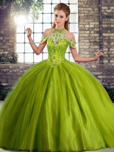 Customized Sleeveless Beading Lace Up 15 Quinceanera Dress with Olive Green Brush Train
