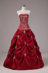 Delicate Sleeveless Floor Length Embroidery and Pick Ups Lace Up Vestidos de Quinceanera with Wine Red