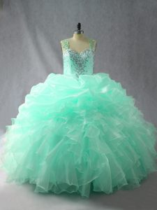 Glorious Organza Straps Sleeveless Zipper Beading and Ruffles and Pick Ups Quinceanera Dresses in Apple Green