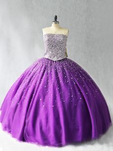 Low Price Purple Strapless Lace Up Beading Quinceanera Dresses Sleeveless