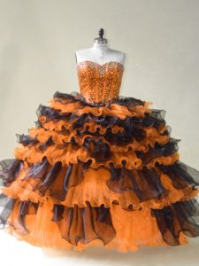 Comfortable Orange Ball Gowns Sweetheart Sleeveless Organza Floor Length Lace Up Beading Quince Ball Gowns