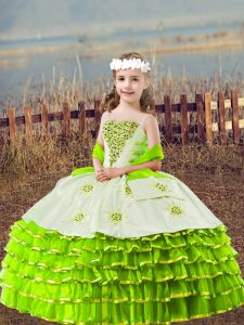 Beading and Embroidery and Ruffled Layers Little Girls Pageant Dress Wholesale Yellow Green Lace Up Sleeveless Floor Length