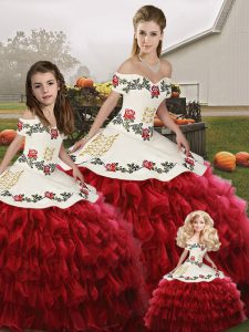 Custom Made Wine Red Lace Up Off The Shoulder Embroidery and Ruffled Layers 15th Birthday Dress Organza Sleeveless