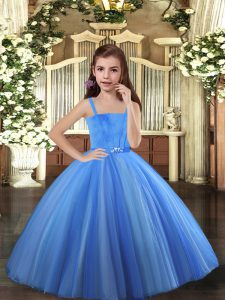 Blue and Yellow And White Sleeveless Tulle Lace Up Little Girl Pageant Dress for Party and Sweet 16 and Wedding Party