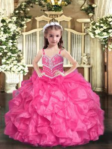 Hot Pink Lace Up Little Girl Pageant Gowns Beading and Ruffles Sleeveless Floor Length