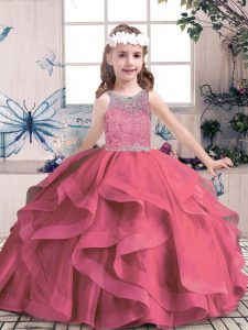 Red Ball Gowns Scoop Sleeveless Tulle Floor Length Lace Up Beading and Ruffles Little Girl Pageant Gowns