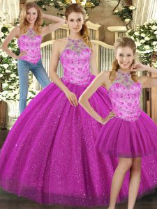 Hot Sale Fuchsia Three Pieces Halter Top Sleeveless Tulle Floor Length Lace Up Beading 15 Quinceanera Dress