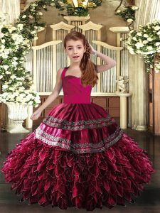 Perfect Hot Pink and Fuchsia Ball Gowns Straps Sleeveless Organza Floor Length Lace Up Appliques and Ruffles Pageant Gowns For Girls