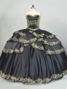 Elegant Black Quinceanera Dresses Sweet 16 and Quinceanera with Embroidery Sweetheart Sleeveless Lace Up