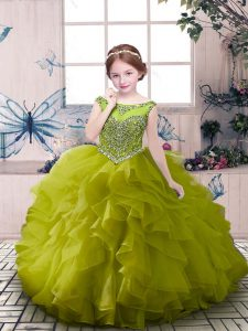 Sleeveless Floor Length Beading and Ruffles Zipper Kids Pageant Dress with Olive Green